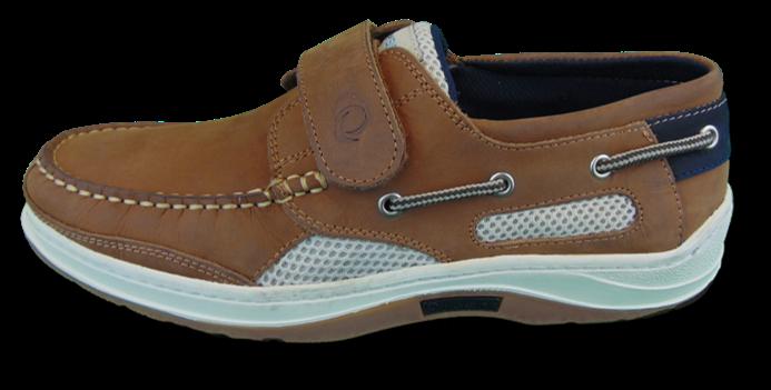 Quayside Hobart Walnut Velcro Deck Shoe