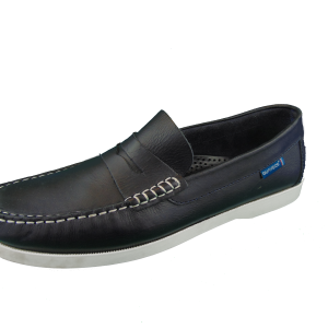 Quayside Lymington Black New Leather Lace Slip on deck shoe