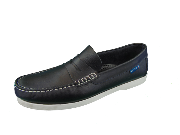 Quayside Lymington Black New Leather Lace Slip on deck shoe