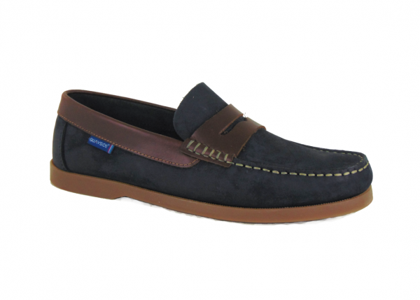 Quayside Lymington Navy Chestnut New Leather Lace Slip on deck shoe